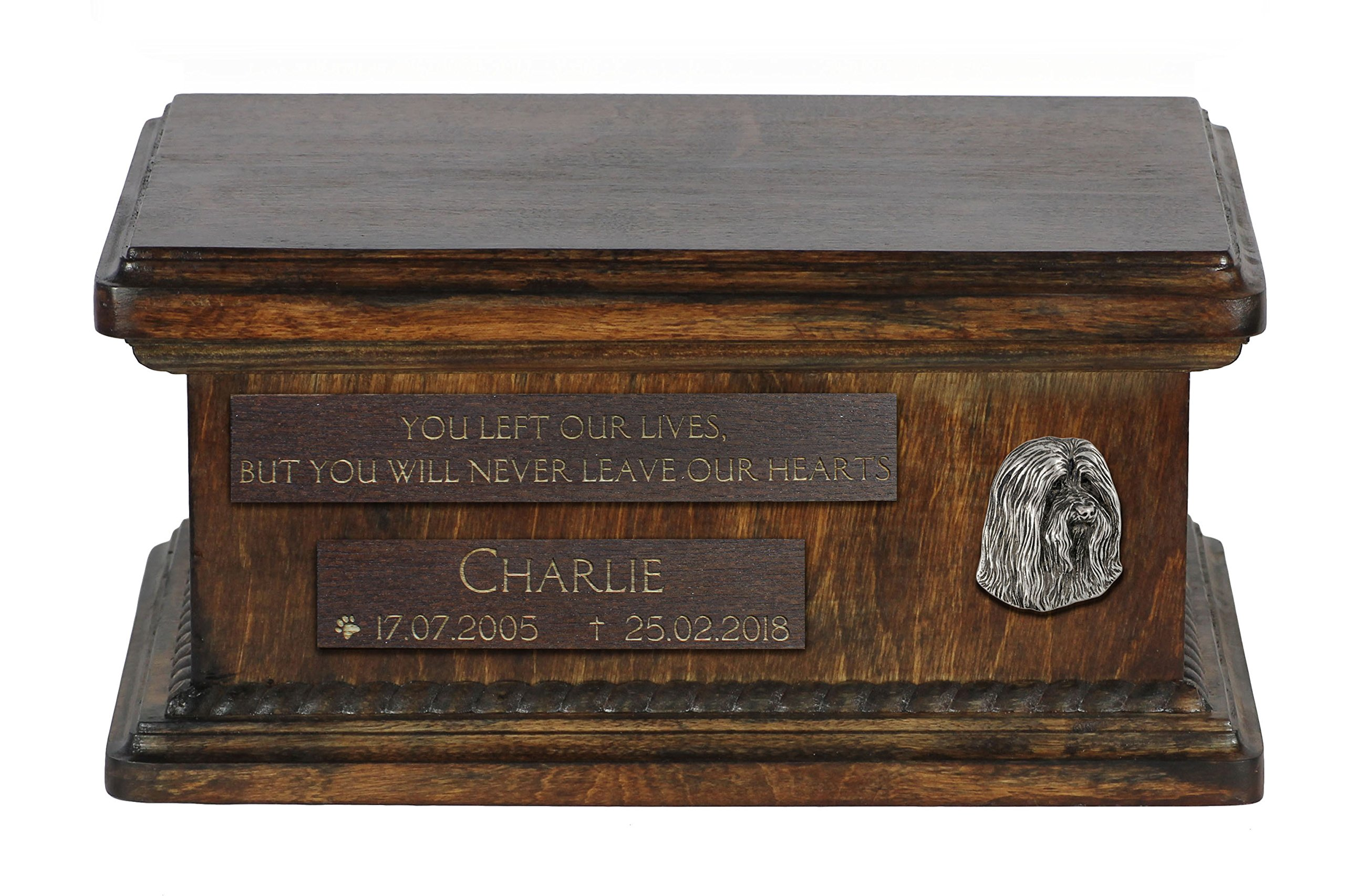 ArtDog Ltd. Bearded Collie, Beardie, urn for dog's ashes with relief and sentence with your dog name and date