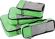 AmazonBasics Kleidertaschen-Set, 4-teilig, je 1 kleine, mittelgroße, große und schmale Packtasche, Grün