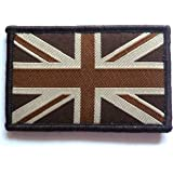 GB UNION JACK PATCH Separate hook and loop fasten backed UBAC army brown military flag badge UK Forces