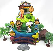 Charlie Brown Cake Topper Set Featuring Charlie Brown and Friends Characters and Decorative Themed Accessories