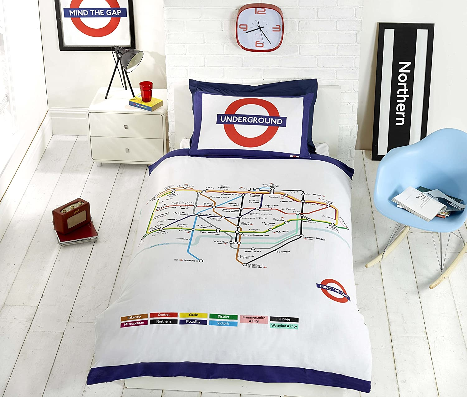 Underground london undgerground tube duvet cover and pillowcases underground london undgerground tube duvet cover and pillowcases bedding bed set single white amazon kitchen home gumiabroncs Gallery