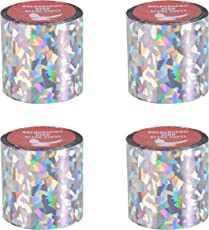 Spick Global Bird Scare Tape Crack Ice Holographic Ribbon Tape Set of 4 Rolls Length 99 feet Width 2 inch