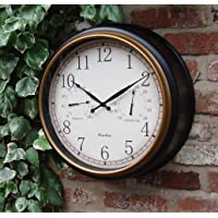 Outdoor Garden Wall Clock Thermometer & Humidity 45cm Black Frame colour
