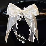 Miya@ 10 hochwertige Handgemacht Beige Antenneschleifen mit Herzschleifen aus Satin, Auto Schleifen, Hochzeit Deko, Autoschmu