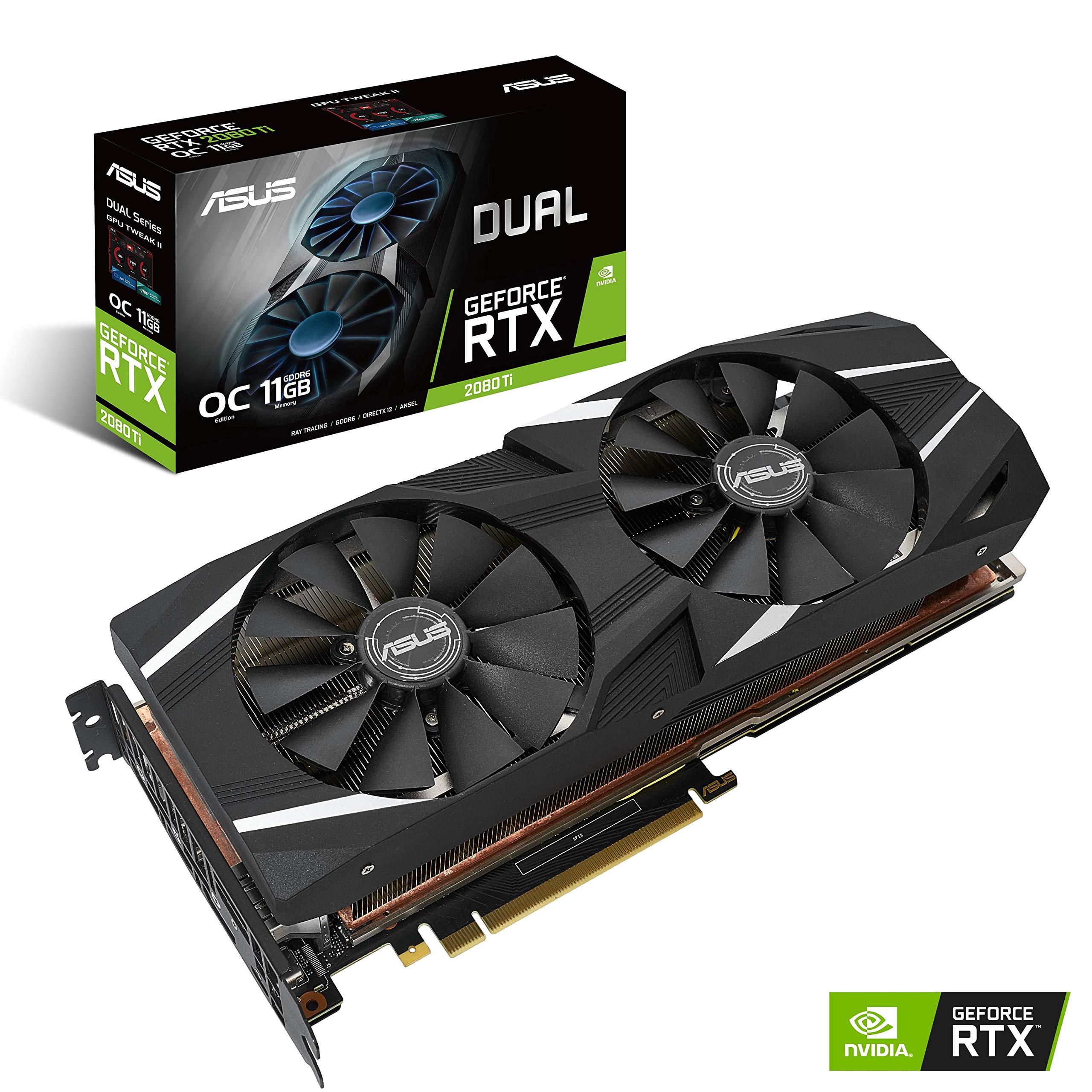 Carte Graphique ASUS Dual GeForce DUAL-RTX2080TI-O11G OC Édition 11Go Mémoire GDDR6