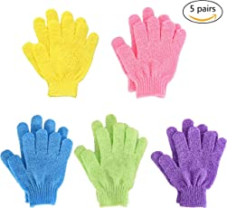 Dusche Handschuh,Badehandschuhe Doppelseitige aus Nylon mit 5Farben für Männer Frauen Kinder 10pieces