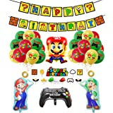 smileh Decoracion Cumpleaños Super Mario Globos de Mario Feliz Cumpleaños del Pancarta Adorno de Torta para Niños Ducha de Be