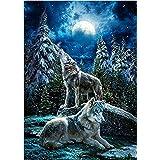 Kit de pintura de diamante 5D, diseño de lobo en la luz de la luna bordado de diamantes de imitación para decoración de pared