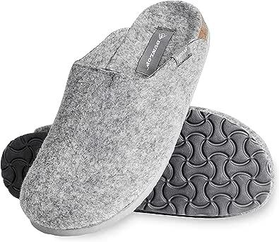 Dunlop Ciabatte Uomo, Pantofole Invernali per Casa, Ciabatta in Feltro Memory Foam, Babbucce Antiscivolo Calde, Taglia 41-46, Idee Regalo Compleanno E Natale