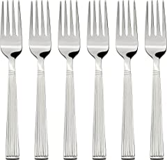 Amazon Brand - Solimo 6 Piece Stainless Steel Fork Set, Stripes, Silver