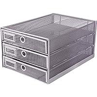 EXERZ Organiseur maillé 3 tiroirs/Module de Classement/Trieur de Papier/Organiseur Multifonctionnel de Bureau(Argent)