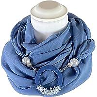 Sciarpa Gioiello Tinta Unita Blu Jeans, Dettaglio Staccabile In Chiusura, Creato Con Corda Morbida Di 6 mm Ricamata Con…