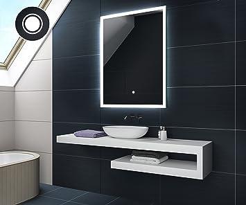 50 x 70 cm KALTWEIß Design Badspiegel mit LED Beleuchtung von ...