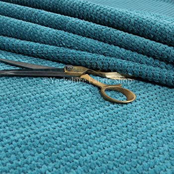 10 Metres Of Shimmer Shine Curtain Upholstery Chenille Fabric Teal Blue Colour