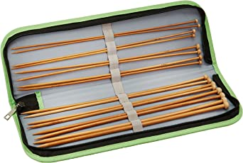 Kole Imports OS346 Bamboo Knitting Needle Set in Storage Case, Multicolor