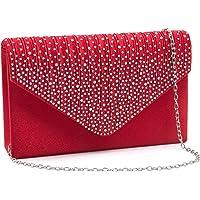 Milisente Clutch Damen, Glitzer Elegante Clutch Umschlag Crossbody Klassisch Clutch Tasche Abendtasche (Rot)