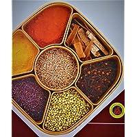 MIR9 MIR Woven Sq Masala Rangoli Box (Dabba) - 7 Sections, 700ml, Assorted Colour (Multicolour).