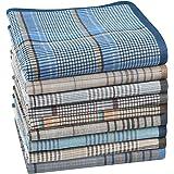 Houlife 100% Cotton Men's Stripe Soft Checkered Pattern Handkerchiefs Assorted Pocket Square Hankies 6/9 Pieces 38x38cm/15x15