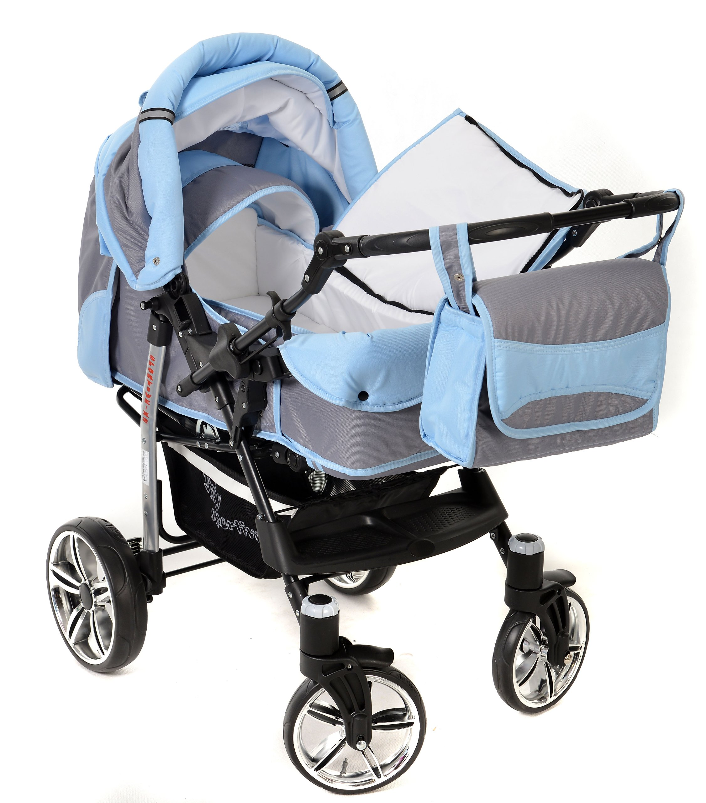 Sportive X2, 3-in-1 Travel System incl. Baby Pram with Swivel Wheels, Car Seat, Pushchair & Accessories (3-in-1 Travel System, Pale Grey & Blue)  3 in 1 Travel System All in One Set - Pram, Car Carrier Seat and Sport Buggy + Accessories: carrier bag, rain protection, mosquito net, changing mat, removable bottle holder and removable tray for your child's bits and pieces Suitable from birth, Easy Quick Folding System; Large storage basket; Turnable handle bar that allows to face or rear the drive direction; Quick release rear wheels for easy cleaning after muddy walks Front lockable 360o swivel wheels for manoeuvrability , Small sized when folded, fits into many small car trunks, Carry-cot with a removable hood, Reflective elements for better visibility 8
