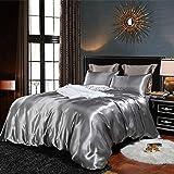 Bonhause Sets de Housse de Couette 220 x 240 cm + 2 Taies d'oreiller 65 x 65cm Soie comme Le Satin Gris Parure de Lit 2 Perso