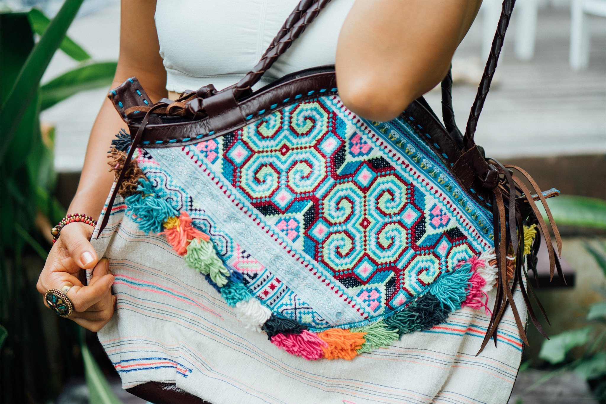 Changnoi Fair Trade Vintage Women Tote Bag, Hmong Tribal Shoulder Bag, Unique Ethnic Beach Bag with Colourful Tassels - handmade-bags