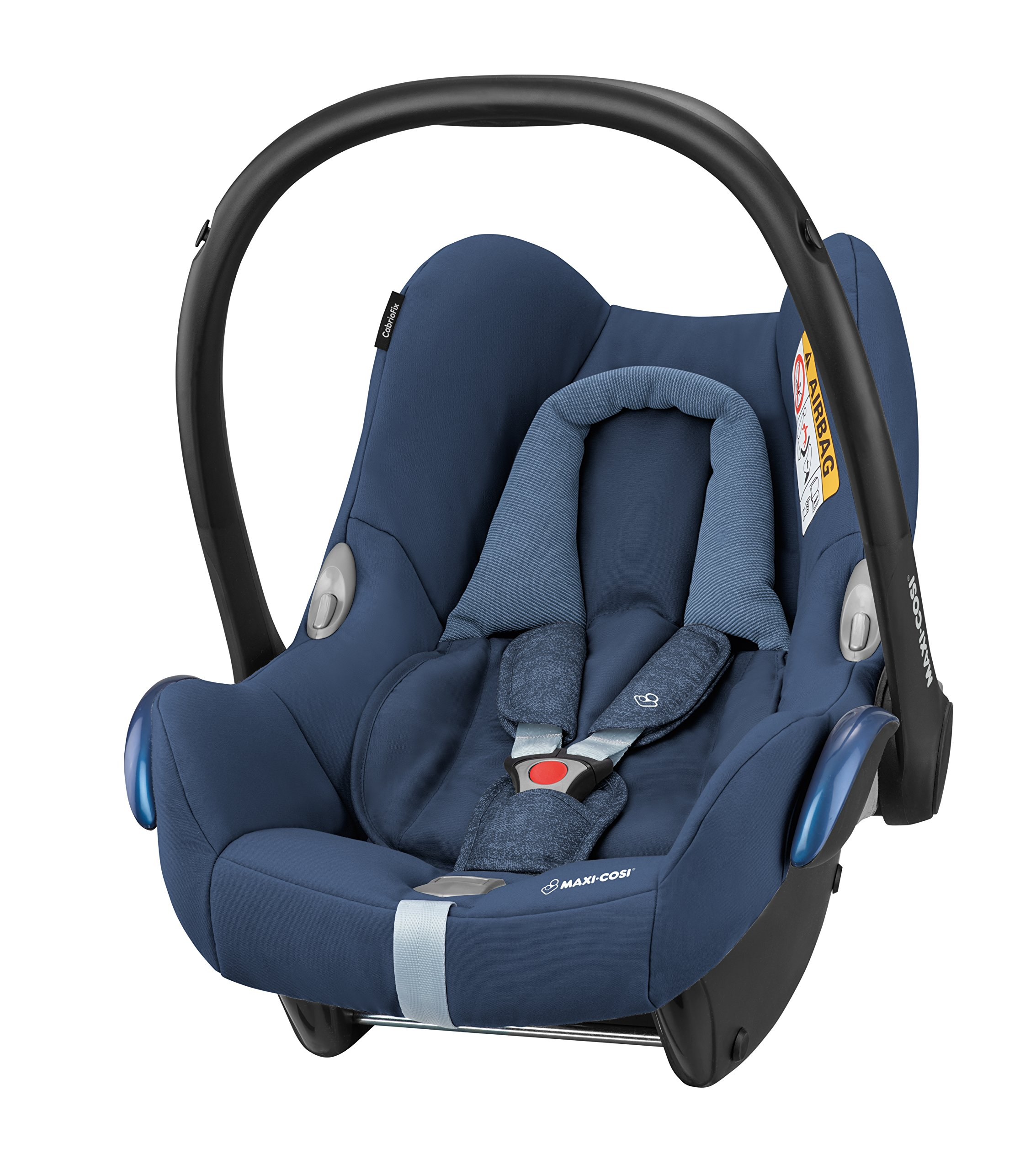 Maxi-Cosi Cabriofix Group 0+ Car Seat, Nomad Blue with EasyFix Car Seat Base, Isofix and Belt Maxi-Cosi Optimal side impact protection: maxi-cost's side protection system technology features in the wings of the car seat to reduce the risk of injury in a side impact collision Click-and-go installation: quick and easy installation with any maxi-cost base unit Flexible travel system: compatible with a variety of pushchairs including quinsy and maxi-cost pushchairs 2
