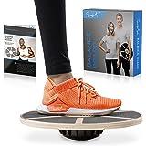SportyAnis® Premium Balance-Board Holz inkl. Übungsbuch und optional Unterlegmatte, Durchmesser 40 cm - Therapiekreisel Wacke