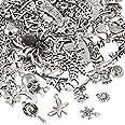 Naler - Abalorios de plata de diferentes estilos retro, 120piezas, para crear joyas, llaveros, pulseras, collares, pendiente