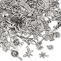 Naler 120pcs misti stili retrò argento ciondolo charm per gioielli fai da te, portachiavi, bracciale, collana, orecchini…