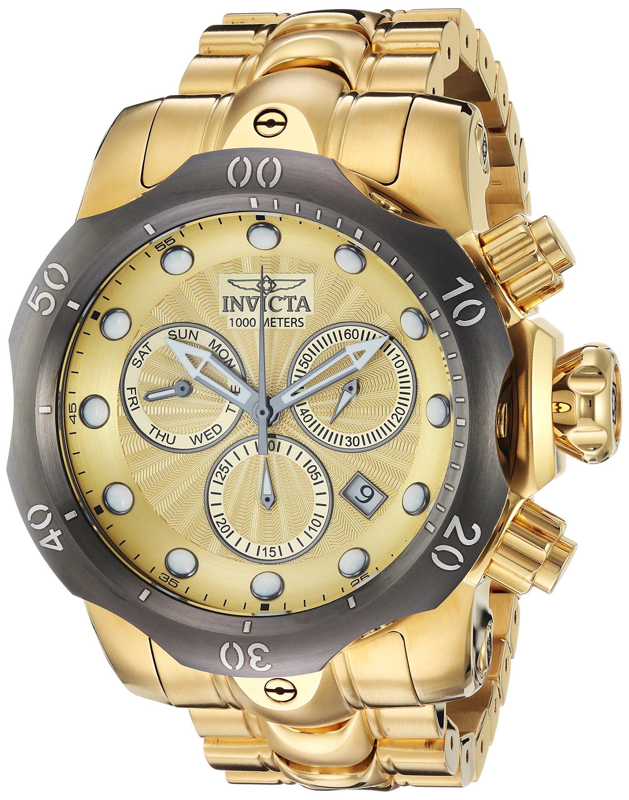 Invicta Men's 'Venom' Quartz Stainless Steel Casual Watch, Color:Gold-Toned (Model: 23894)
