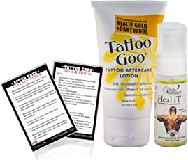 "Tattoo Goo Aftercare Lotion with Healix Gold and Panthenol Proven Moisturizer, Healing Soap and ""Tattoo After Care Instruction Card"""