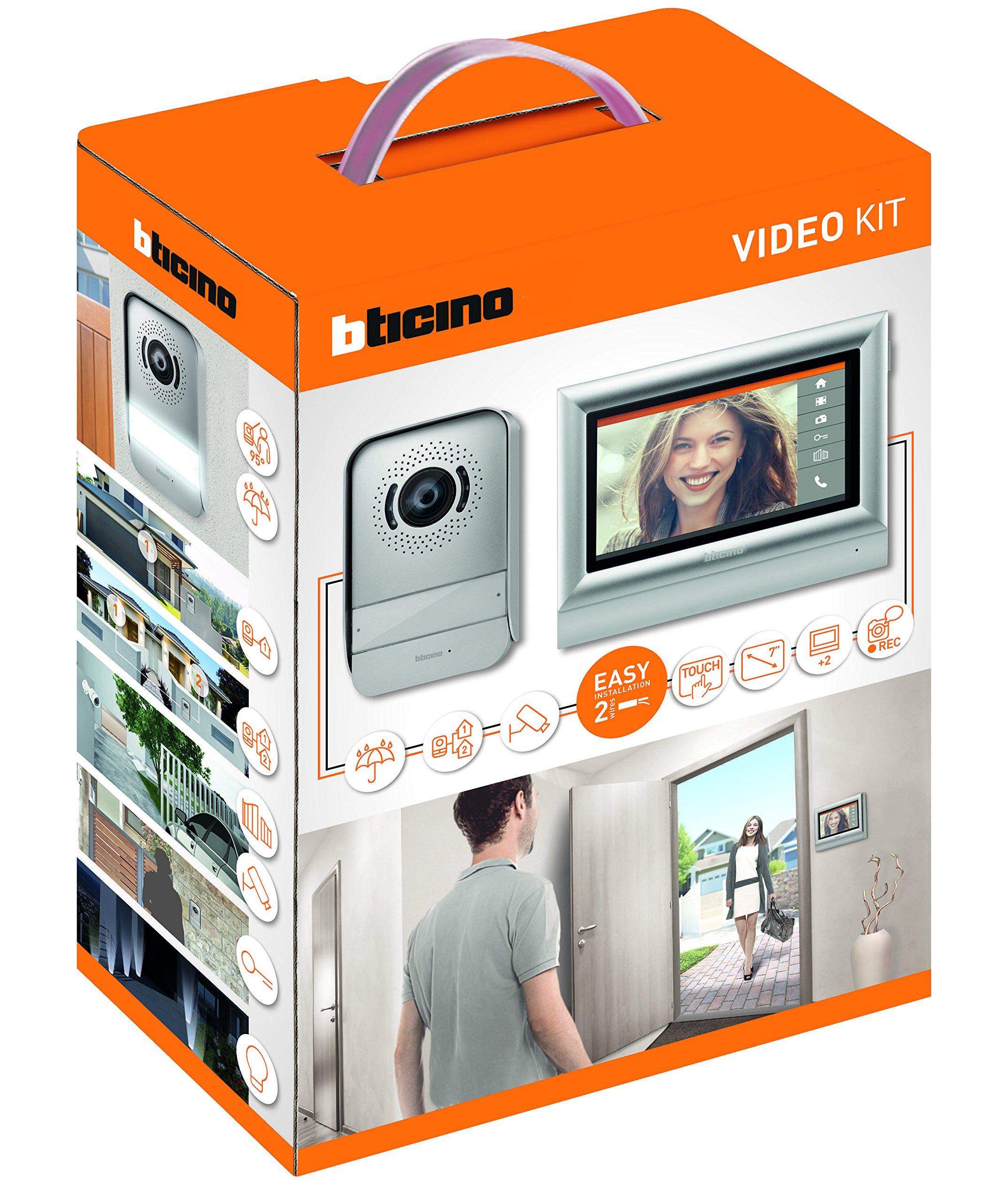 BTicino 317113 Kit Videocitofono con 2 Fili Touchscreen 7 Mono/Bifamigliare, Grigio