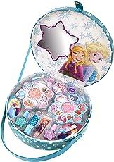 Disney Die Eiskönigin Frozen großer Schminkkoffer mit Henkel und Eiskönigin-Motiv, 1er Pack (enthält kindgerechte Schminke für Augen und Lippen, Nagellack, Ringe)