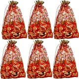 Evisha Women's Net Zari Potli Pouch Bag (Red, 23 x 16 cm) - Pack of 25 Pieces