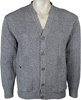 Mens Knitted Cardigan Classic Style Cardigans V Neck Button Jumper ...