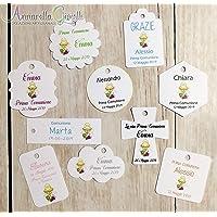 Cartellini COMUNIONE personalizzati, a partire da 20 pezzi, vari colori, per bomboniera, classico, croce, fiore…