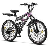 Licorne Bike Premium Strong V mountainbike in 24 en 26 inch – fiets voor jongens, meisjes, dames en heren – 21 versnellingen