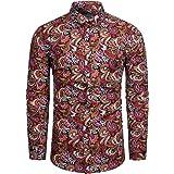 fohemr Mens Paisley Cotton Long Sleeve Shirt Floral Print Casual Retro Button Down Shirt