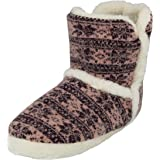 Ladies Girls Faux Fur Warm Plush Nordic Fairisle Christmas Hard Sole Knitted Winter Slipper Boots Size 3-8