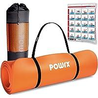 POWRX Tappetino Fitness Antiscivolo 190 x 60, 80, 100 cm - Ideale per Yoga, Pilates e Ginnastica - Extra Morbido e…