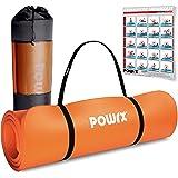 POWRX Tappetino Fitness Antiscivolo 190 x 60, 80, 100 cm - Ideale per Yoga, Pilates e Ginnastica - Extra Morbido e Spesso 1,5