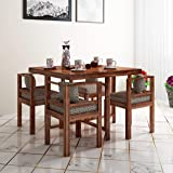 Home Edge Sheesham Wood Bayne 4 Seater Dining Table Set with 4 Chairs   Natural Brown Finish | Wooden Dining Table for…