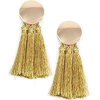 Happiness Boutique Orecchini Nappa Color Oro | Orecchini Statement con Dettaglio Disco Tondo