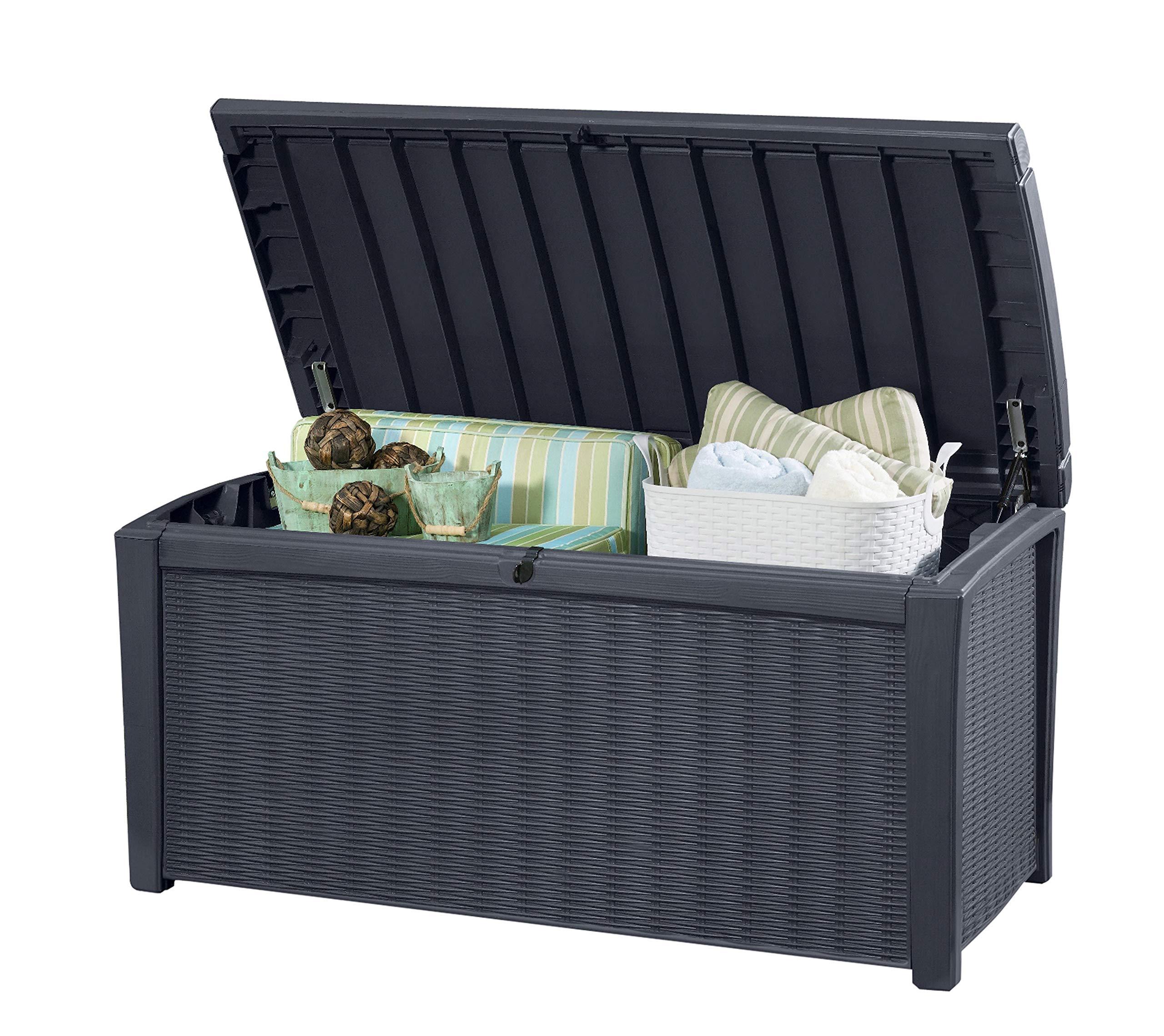 Keter Kissenbox Borneo, Anthrazit, 400L aus hochwertigem Polypropylen Aufbewahrungsbox & Sitzbank in einem Maße: 129,5 cm x 70 cm x 62,5 cm  (BxTxH)