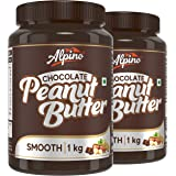 Alpino Chocolate Peanut Butter Smooth 2 KG | Made with Roasted Peanuts, Cocoa Powder & Choco Chips | 20% Protein | Non GMO |