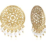 Zaveri Pearls Stud Earrings for Women (Golden)(ZPFK7080)