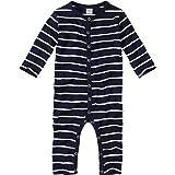 WELLYOU, Pijamas, Pijamas para niños y niñas, una Pieza de Manga Larga, niños pequeños, Azul Marino con Rayas Blancas. 100% a