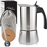 Milu Cafetera Italiana (2 Tazas sin inducción) | 2, 4, 6 Tazas | Cafetera Moka de Acero Inox, Expresso Maker - Set comprensiv