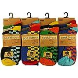 12 pares de calcetines para hombre, de algodón, con diseños, talla: 40 – 45, de Sockstack