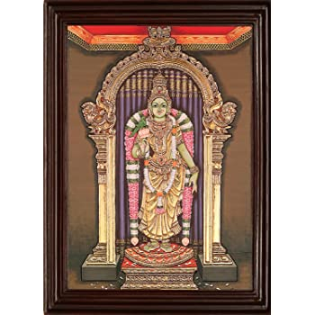 MyAngadi Traditional Madurai Meenatchi Amman Tanjore Painting - 22 Carat Gold Foil (82x68 cm)
